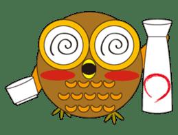 circle face1 owl sticker #150421