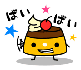 A cat and a pudding sticker #168191