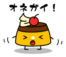 A cat and a pudding sticker #168208