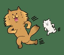 Brown fat cat & Baby polar bear sticker #184145