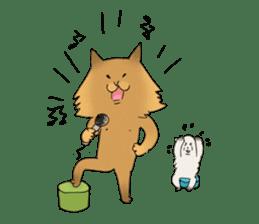 Brown fat cat & Baby polar bear sticker #184151