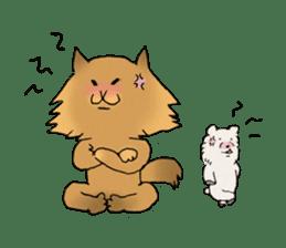 Brown fat cat & Baby polar bear sticker #184162