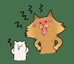 Brown fat cat & Baby polar bear sticker #184164
