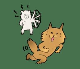 Brown fat cat & Baby polar bear sticker #184167