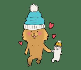 Brown fat cat & Baby polar bear sticker #184168