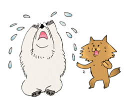 Brown fat cat & Baby polar bear sticker #184170