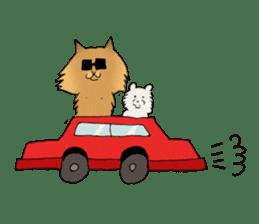Brown fat cat & Baby polar bear sticker #184173