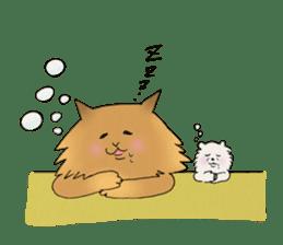 Brown fat cat & Baby polar bear sticker #184175
