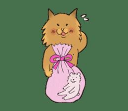 Brown fat cat & Baby polar bear sticker #184181