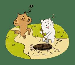 Brown fat cat & Baby polar bear sticker #184184