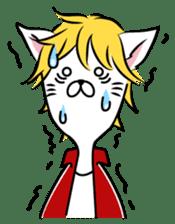 """Cat River Boy""; the feeble cat man. sticker #185002"