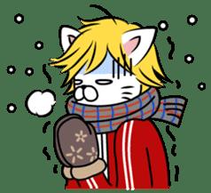 """Cat River Boy""; the feeble cat man. sticker #185011"