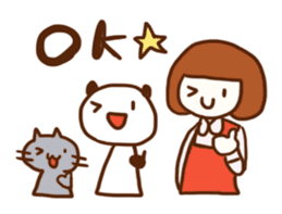 Panda, Cat and Bobbed Hair Style Girl sticker #185267