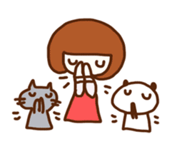 Panda, Cat and Bobbed Hair Style Girl sticker #185275