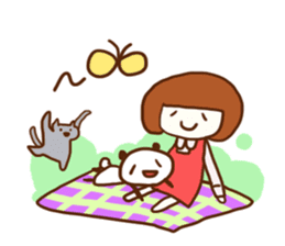 Panda, Cat and Bobbed Hair Style Girl sticker #185292