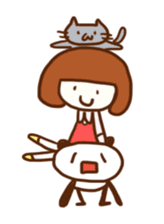 Panda, Cat and Bobbed Hair Style Girl sticker #185293