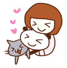 Panda, Cat and Bobbed Hair Style Girl sticker #185294