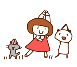 Panda, Cat and Bobbed Hair Style Girl sticker #185298