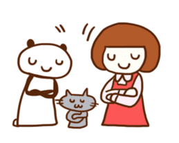 Panda, Cat and Bobbed Hair Style Girl sticker #185299