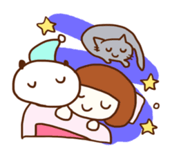Panda, Cat and Bobbed Hair Style Girl sticker #185300
