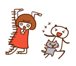 Panda, Cat and Bobbed Hair Style Girl sticker #185303
