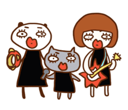 Panda, Cat and Bobbed Hair Style Girl sticker #185304