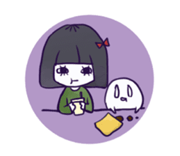A girl's name is FUKASHI and ghost. sticker #185708