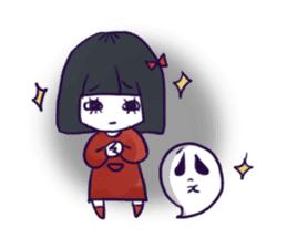 A girl's name is FUKASHI and ghost. sticker #185716