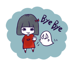 A girl's name is FUKASHI and ghost. sticker #185725