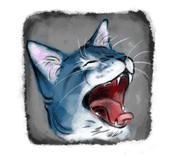 Stamps of blue cat sticker #197683