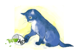 Stamps of blue cat sticker #197688
