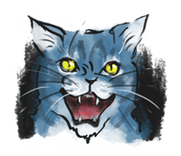 Stamps of blue cat sticker #197690