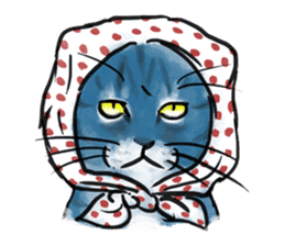 Stamps of blue cat sticker #197701