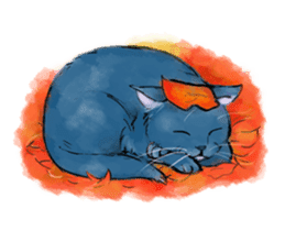 Stamps of blue cat sticker #197718