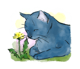 Stamps of blue cat sticker #197720