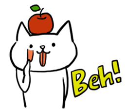cat and apple2English sticker #203742