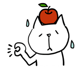 cat and apple2English sticker #203743