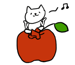 cat and apple2English sticker #203744