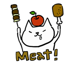 cat and apple2English sticker #203746