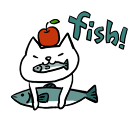 cat and apple2English sticker #203747