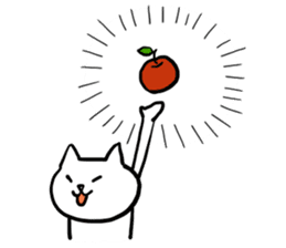 cat and apple2English sticker #203748