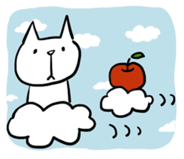 cat and apple2English sticker #203754