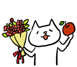 cat and apple2English sticker #203762