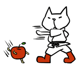 cat and apple2English sticker #203768