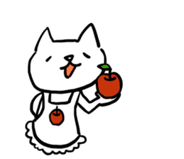 cat and apple2English sticker #203770