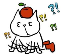 cat and apple2English sticker #203773