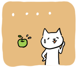 cat and apple2English sticker #203774