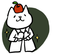 cat and apple2English sticker #203776