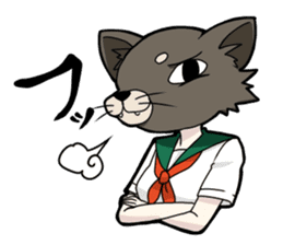 animal female high school student sticker #209391
