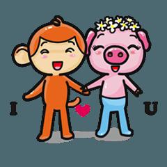 Monkey and Pig Nori AiKa 2